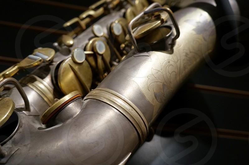 Vintage silver saxophone photo
