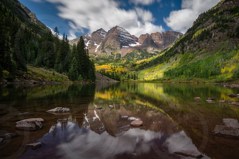 The Maroon Bells from Maroon Lake Colorado photo
