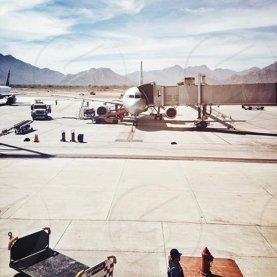 plane at loading deck photo