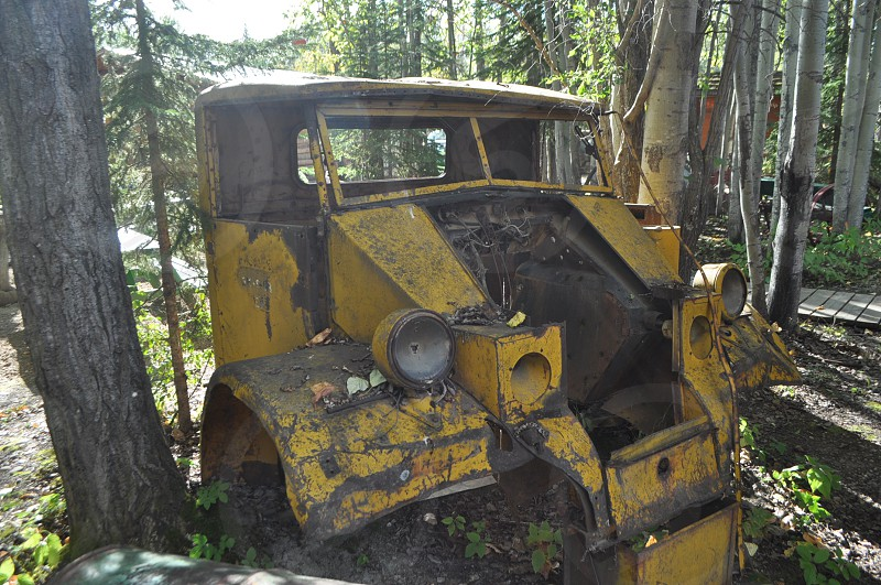 Cab of old Army truck awaits restoration..or use as a lawn ornament photo