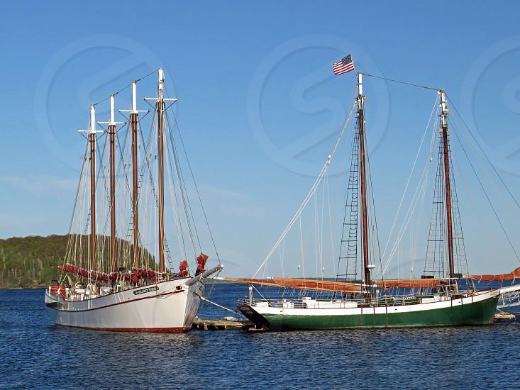 Sailboats docked in Bar Harbor Maine photo