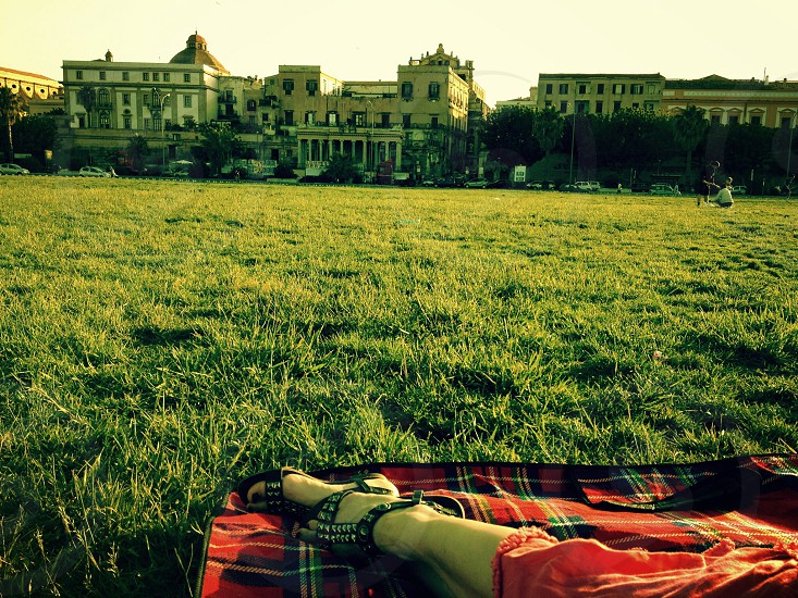 person lying on green grass photo