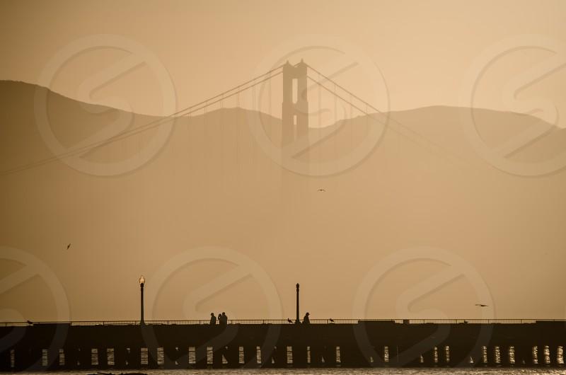 Golden Gate Bridge San Francisco bridge water view hills city dock people fog  photo