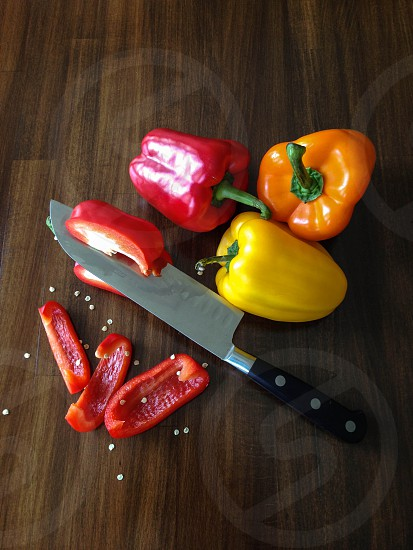 Cutting Colorful Peppers photo