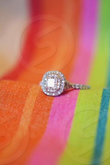 women's silver diamond pave ring photo