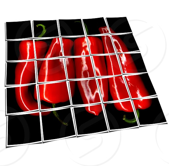 red paprika or paprica on black background collage composition of multiple images over white photo