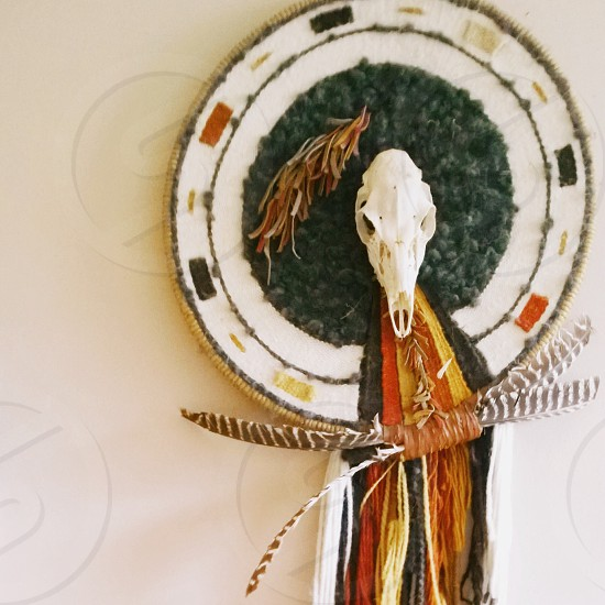 Family heirloom Southwestern weaving featuring a skull photo