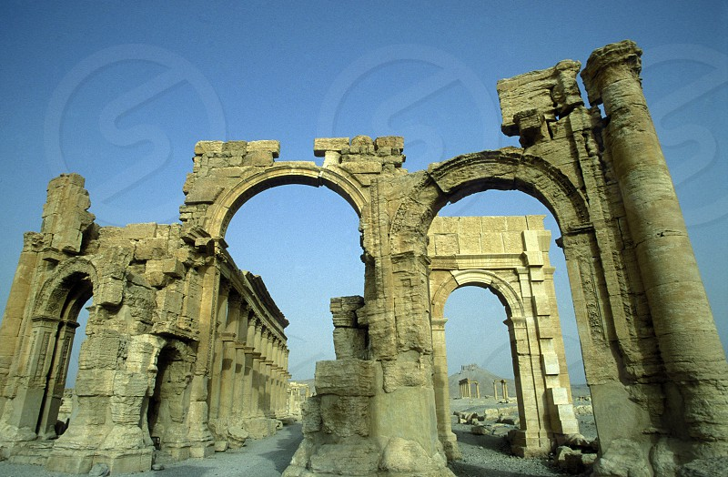 the Roman Ruins of Palmyra in Palmyra in the east of Syria. photo