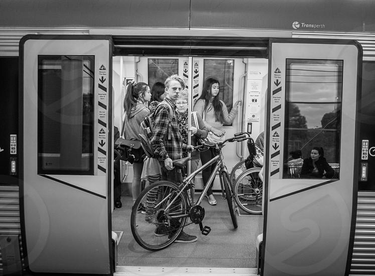 Bike train male model sensory energy overload emotion blackandwhite  photo