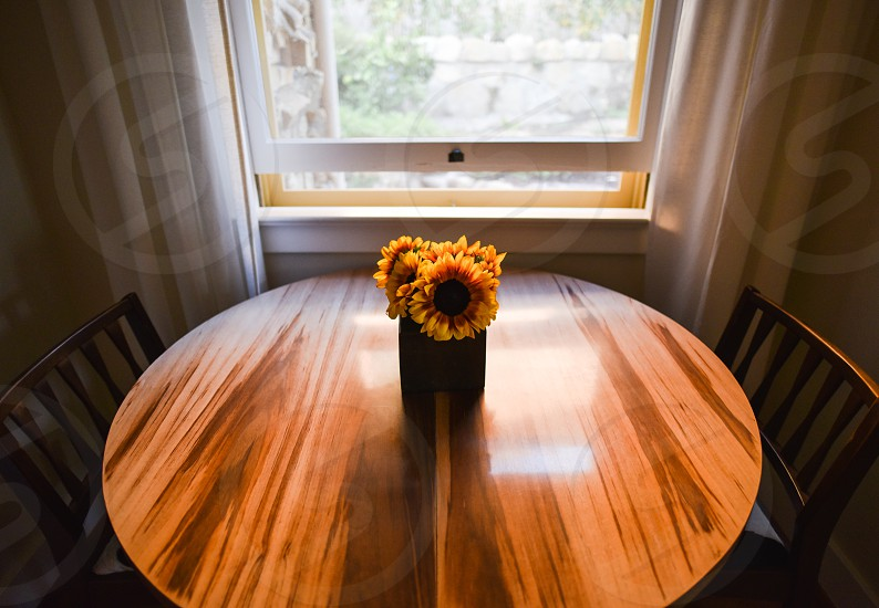 flowers sunflowers table dining couple  photo