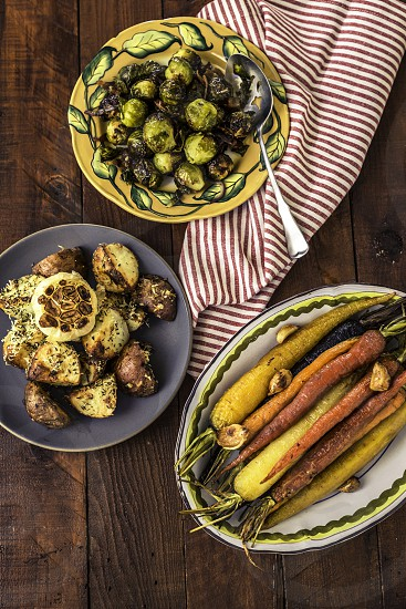 roasted vegetables on table photo