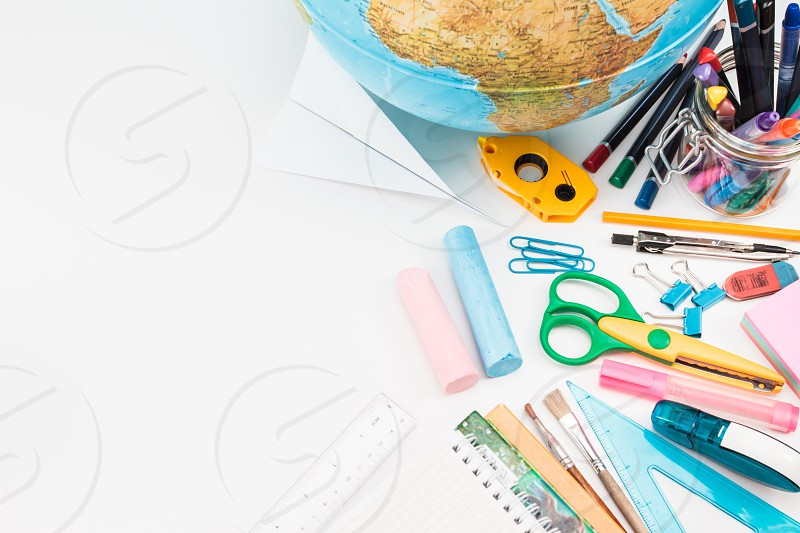 School accessories on a white background photo