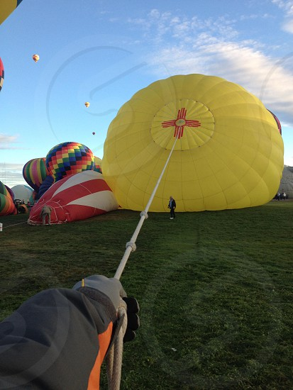 My view working the crown line on the balloon at the Albuquerque international blown fiesta 2014 photo