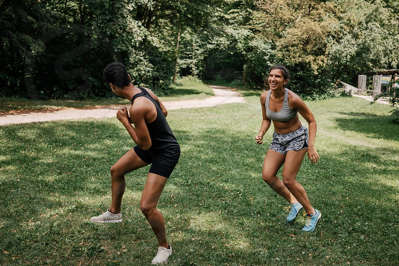 two friends play and do sports together in Munich photo