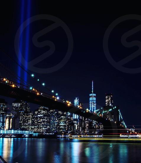 New York New York City Brooklyn bridge 9/11 skyline one world trade photo