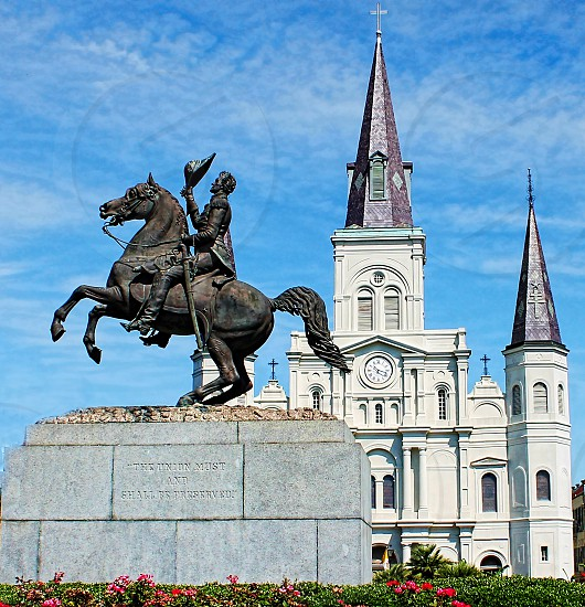 Jackson Square statue and St. Louis Cathedral photo