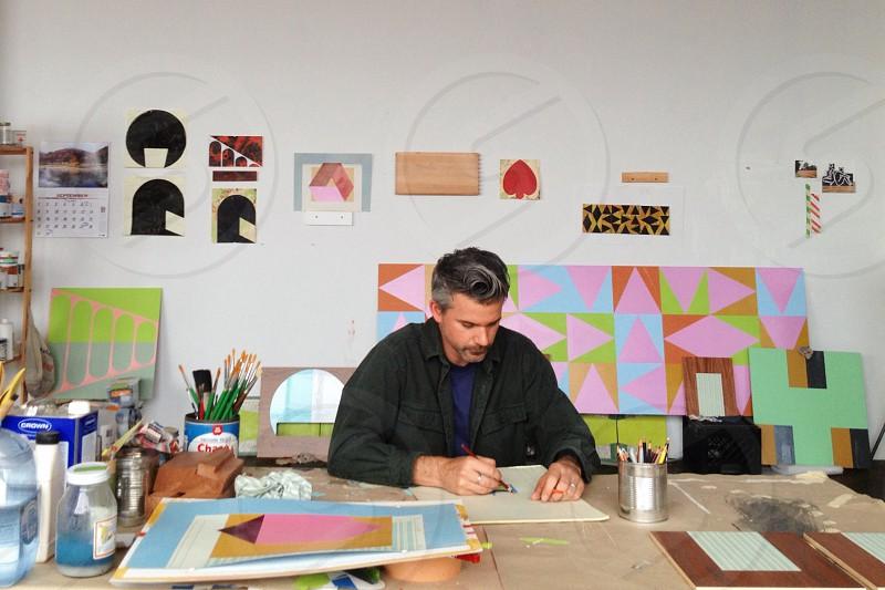 art artist artwork studio drawing draw painting man industrial focus sketch colorful photo