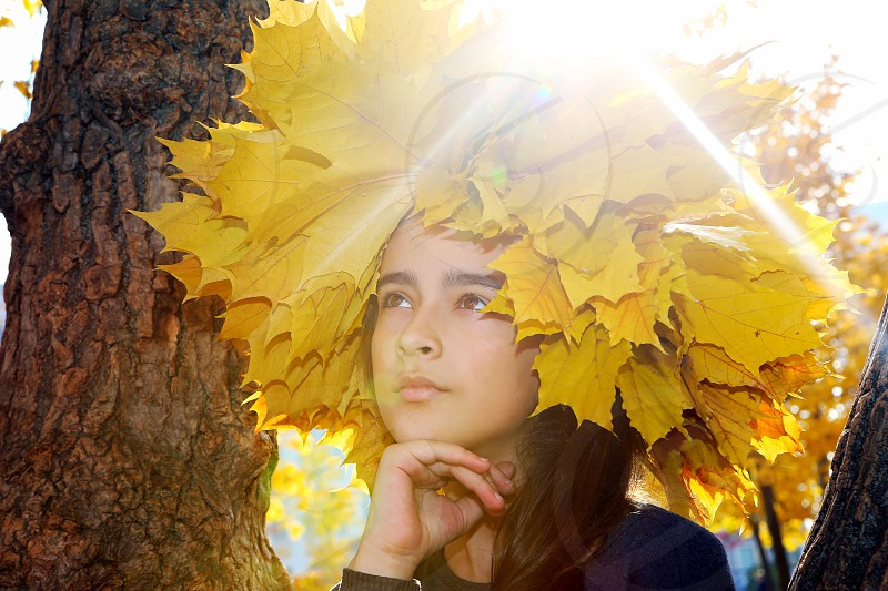 Sunshine portrait young lady sunlight  autumn season photo