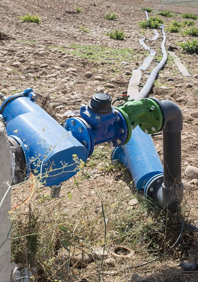 Agriculture watering tubes on the field photo