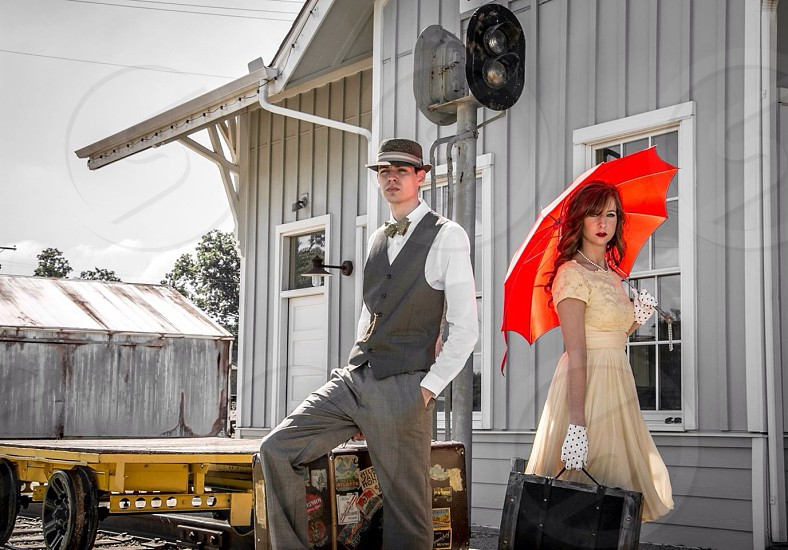 Travel 50s umbrella yellow red railroad  photo