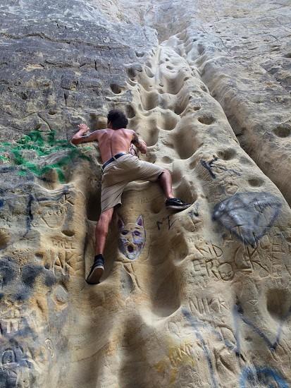 Sketchy rock climbing in San Diego :) photo
