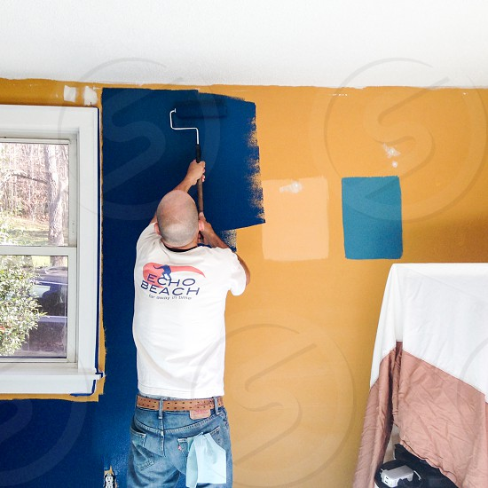 Painting over the swatches. Sherwin Williams Loyal Blue! photo