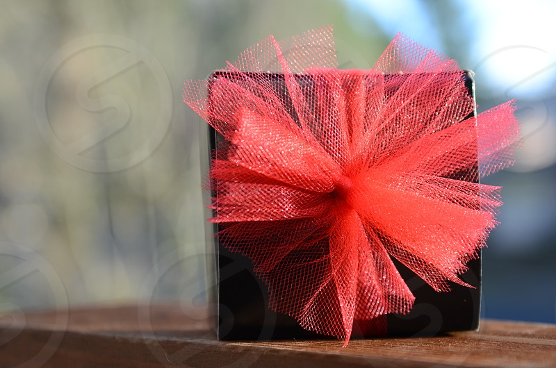 Gift present holiday Christmas birthday valentines anniversary thank you black box red ribbon photo