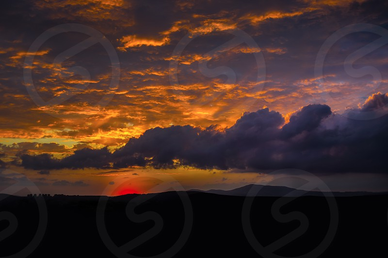 Summer Sunset Sky Blue Red Clouds photo