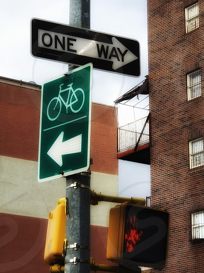 One way city life traffic light building bicycles  photo