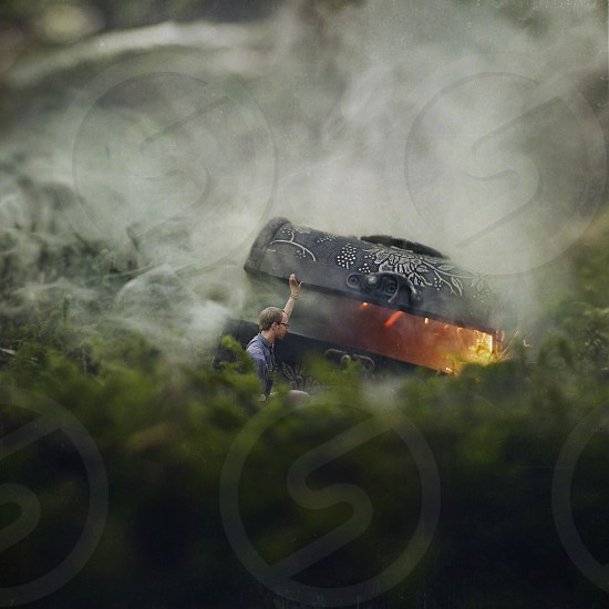 Smoke chest tiny miniature grass fire explore photo