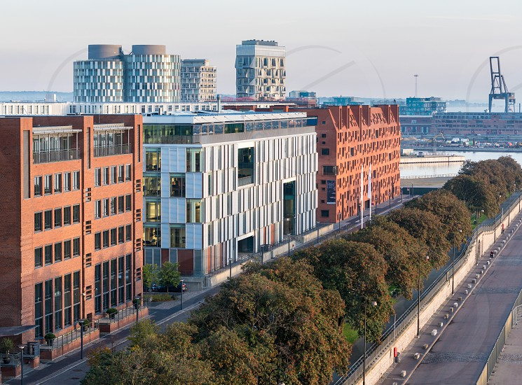 Apartment buildings and offices in modern development along Langelinie pier in Copenhagen Denmark photo