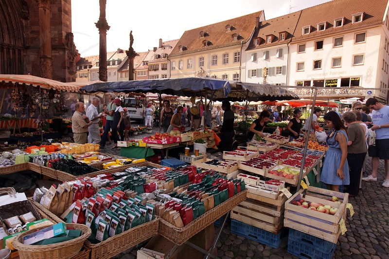 the market in the old town of Freiburg im Breisgau in the Blackforest in the south of Germany in Europe. photo