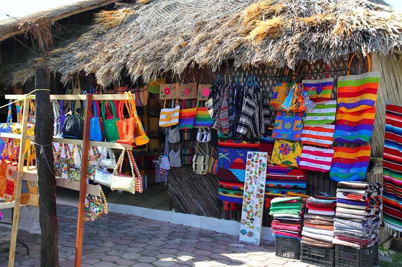 Handcrafts market in Mexico Puerto Morelos village photo