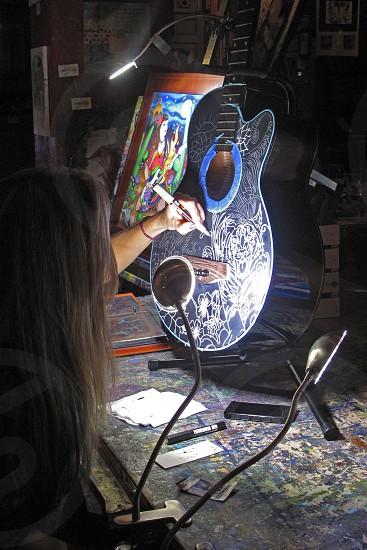 business guitar decorative paint lights workbench spotlight artisan designer  photo