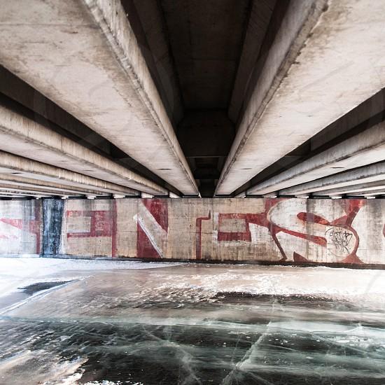 gray concrete tunnel photo
