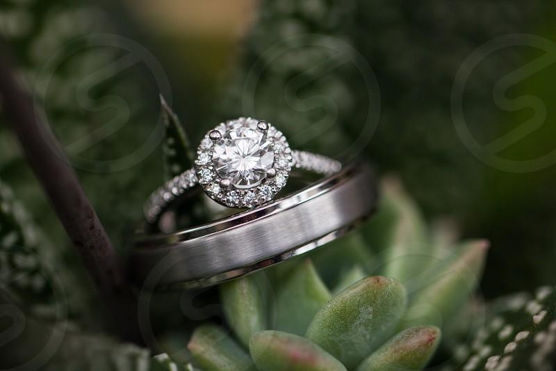 diamond stud silver ring photo
