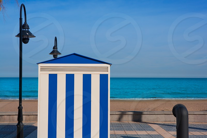 Benicasim in Castellon Benicassim beach stripes house at Mediterranean sea of spain photo
