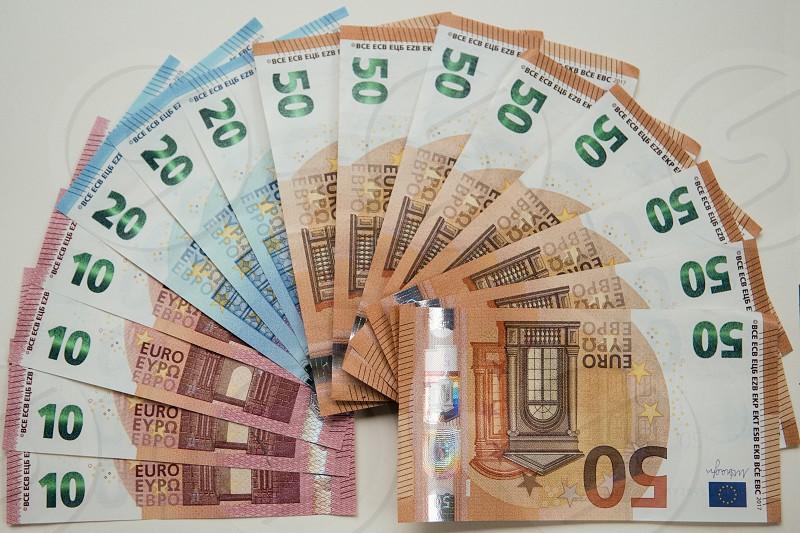 Semi-circle geometic shape crwated with Euro notes (EU) photo