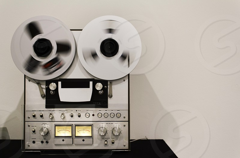 Old analog audio and video tape recorder used for professional use. photo