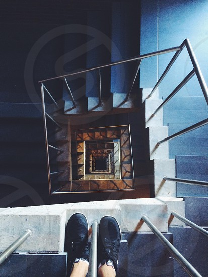 spiral stairs going down photo