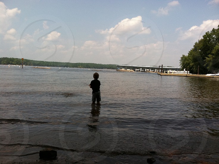 Fishing boy toddler water photo