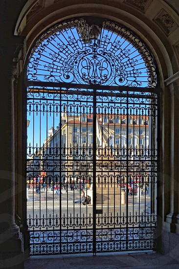 View of a Square through a Gate photo