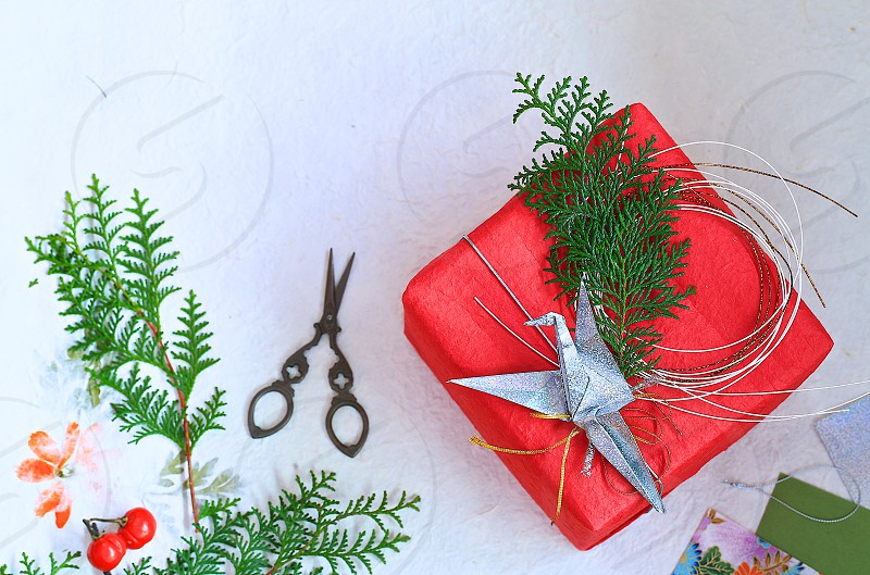 'Presents Packages and Bows' (1)  Presents Packages Japanese Style Wrapping Origami Red Green Washi Paper photo