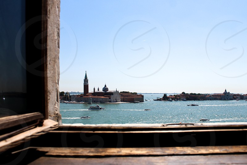 Europe Venice Skyline through window Frame photo