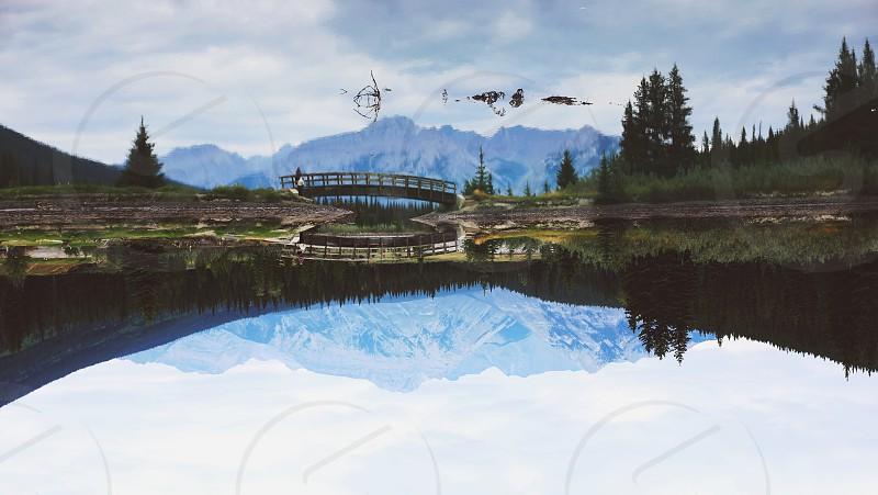lake and bridge photography photo