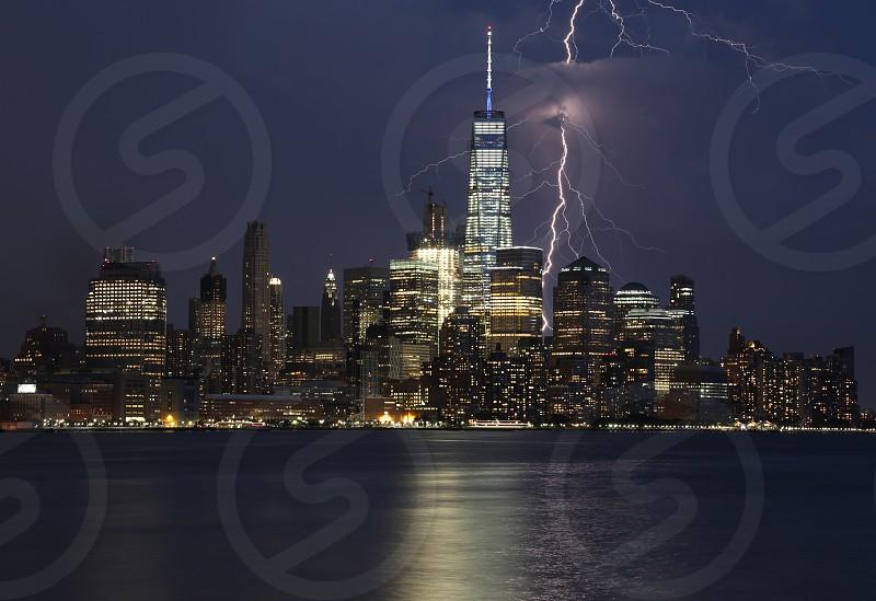 Stormy night over the NYC skyline. photo