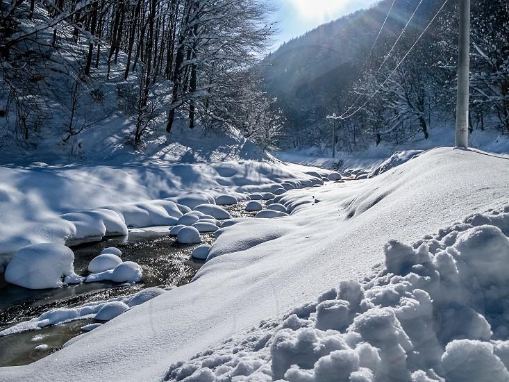 "The river - ""Steaza"" river Cindrel mountains Sibiu county Romania 800m 31-12-2014 -17 degrees Celsius photo"