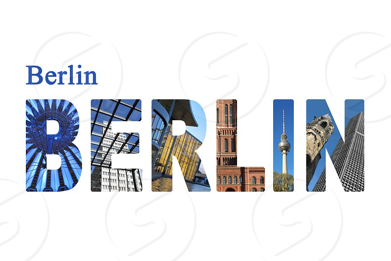 Berlin letters with sightseeing points on white background. photo