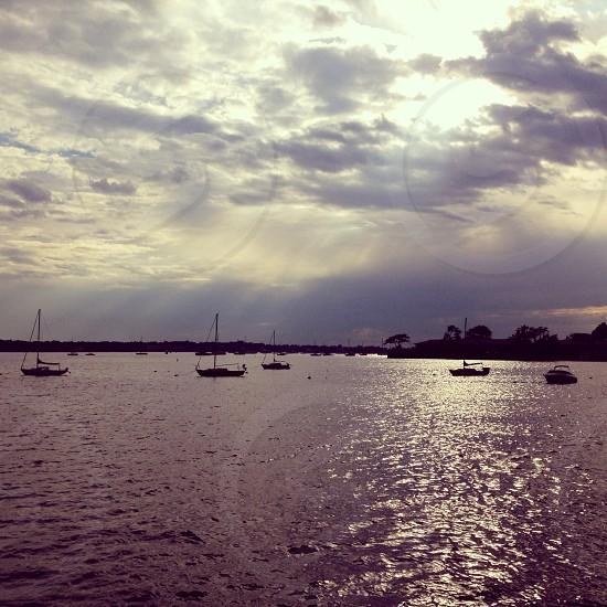 Ocean.boats.breaking light  photo