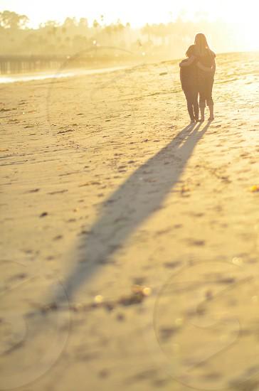 kids children beach sand sunset play photo